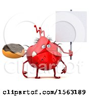 Clipart Of A 3d Red Germ Monster Holding A Donut On A White Background Royalty Free Illustration