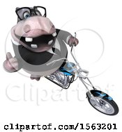 3d Business Hippo Biker Riding A Chopper Motorcycle On A White Background