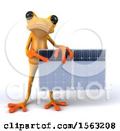 3d Yellow Frog Holding A Solar Panel On A White Background