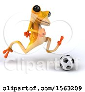 3d Yellow Frog Playing Soccer On A White Background