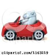 3d White Monkey Yeti Driving A Convertible On A White Background