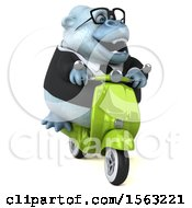 Poster, Art Print Of 3d White Business Monkey Yeti Riding A Scooter On A White Background