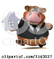 Clipart Of A 3d Brown Business Cow Holding A House On A White Background Royalty Free Illustration by Julos