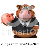 3d Brown Business Cow Holding A Piggy Bank On A White Background