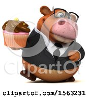 3d Brown Business Cow Holding A Cupcake On A White Background