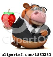 3d Brown Business Cow Holding A Strawberry On A White Background