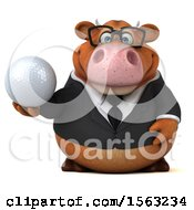 3d Brown Business Cow Holding A Golf Ball On A White Background