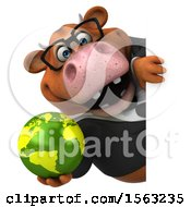 3d Brown Business Cow Holding A Globe On A White Background