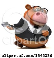 3d Brown Business Cow Holding A Wrench On A White Background