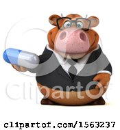 3d Brown Business Cow Holding A Pill On A White Background