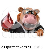 3d Brown Business Cow Holding A Blood Drop On A White Background