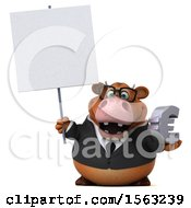 3d Brown Business Cow Holding A Euro On A White Background