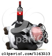 Clipart Of A 3d Business Holstein Cow Holding Wine On A White Background Royalty Free Illustration by Julos