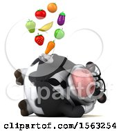 Clipart Of A 3d Business Holstein Cow Holding Produce On A White Background Royalty Free Illustration by Julos