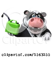 Clipart Of A 3d Business Holstein Cow Holding A Gas Can On A White Background Royalty Free Illustration by Julos