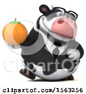 Clipart Of A 3d Business Holstein Cow Holding An Orange On A White Background Royalty Free Illustration by Julos