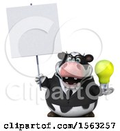 Clipart Of A 3d Business Holstein Cow Holding A Light Bulb On A White Background Royalty Free Illustration by Julos