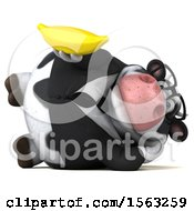 Clipart Of A 3d Business Holstein Cow Holding A Banana On A White Background Royalty Free Illustration by Julos