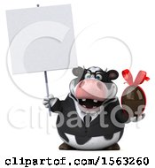 Clipart Of A 3d Business Holstein Cow Holding A Chocolate Egg On A White Background Royalty Free Illustration by Julos