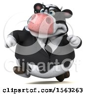 Clipart Of A 3d Business Holstein Cow Running On A White Background Royalty Free Illustration by Julos
