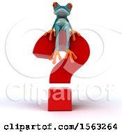 3d Blue Frog Sitting On A Question Mark On A White Background