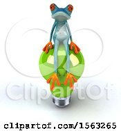 Poster, Art Print Of 3d Blue Frog Sitting On A Light Bulb On A White Background