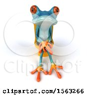 3d Blue Frog Sitting On A Toilet On A White Background