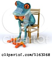 3d Blue Frog Sitting And Thinking On A White Background
