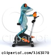 3d Blue Frog On A Spin Bike On A White Background