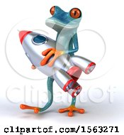 3d Blue Frog Holding A Rocket On A White Background
