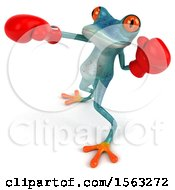 3d Blue Frog Boxer Punching On A White Background