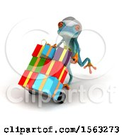 3d Blue Frog With Christmas Gifts On A White Background