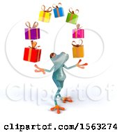 3d Blue Frog Juggling Gifts On A White Background