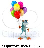 3d Blue Frog Holding Balloons On A White Background