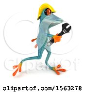 3d Blue Frog Worker Carrying A Wrench On A White Background