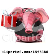 3d Pink Business Elephant Holding A Gift On A White Background