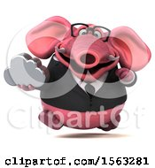 3d Pink Business Elephant Holding A Cloud On A White Background