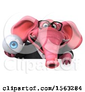 3d Pink Business Elephant Holding An Eye On A White Background