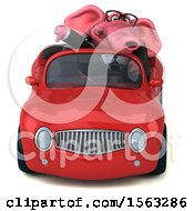 3d Pink Business Elephant Driving A Convertible On A White Background
