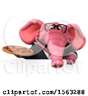 3d Pink Business Elephant Holding A Pizza On A White Background