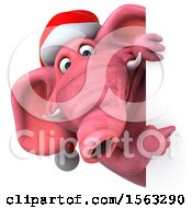 3d Pink Christmas Elephant On A White Background