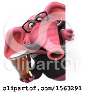 3d Pink Business Elephant Holding A  On A White Background