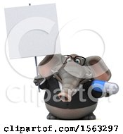 3d Business Elephant Holding A Pill On A White Background
