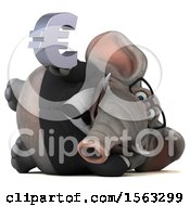 3d Business Elephant Holding A Euro On A White Background