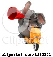 Clipart Of A 3d Elephant Riding A Moped On A White Background Royalty Free Illustration