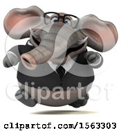 3d Business Elephant Running On A White Background
