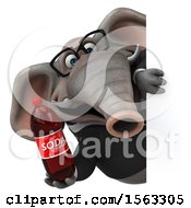 3d Business Elephant Holding A Soda On A White Background