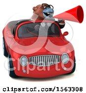 3d Business Orangutan Monkey Driving A Convertible On A White Background