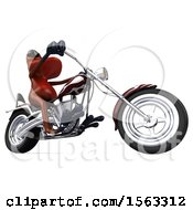 3d Red Frog Biker Riding A Chopper Motorcycle On A White Background