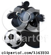 3d Black Business Bull Holding A Soccer Ball On A White Background